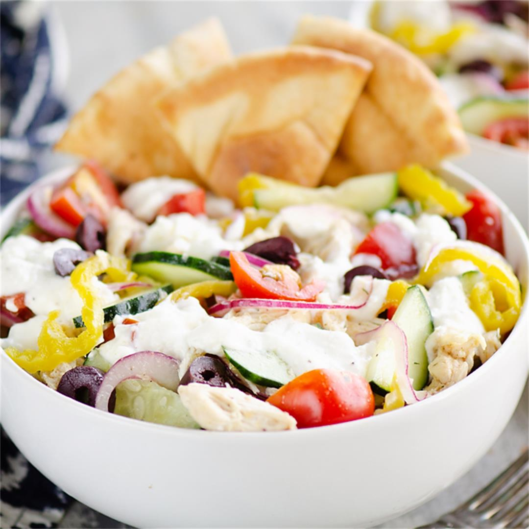 Greek Chicken Pita Bowl