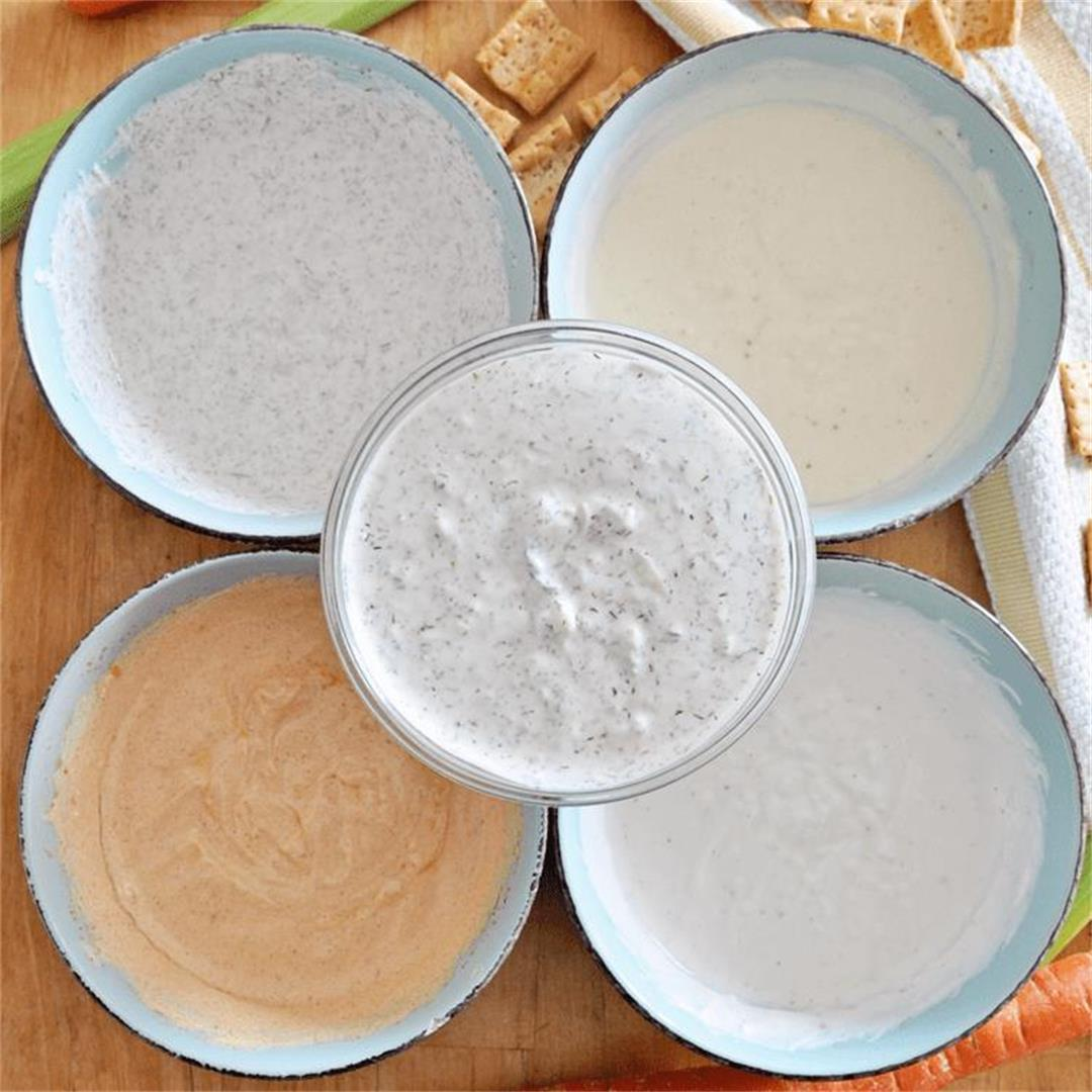 5 HEALTHY & EASY Dips made with GREEK YOGURT