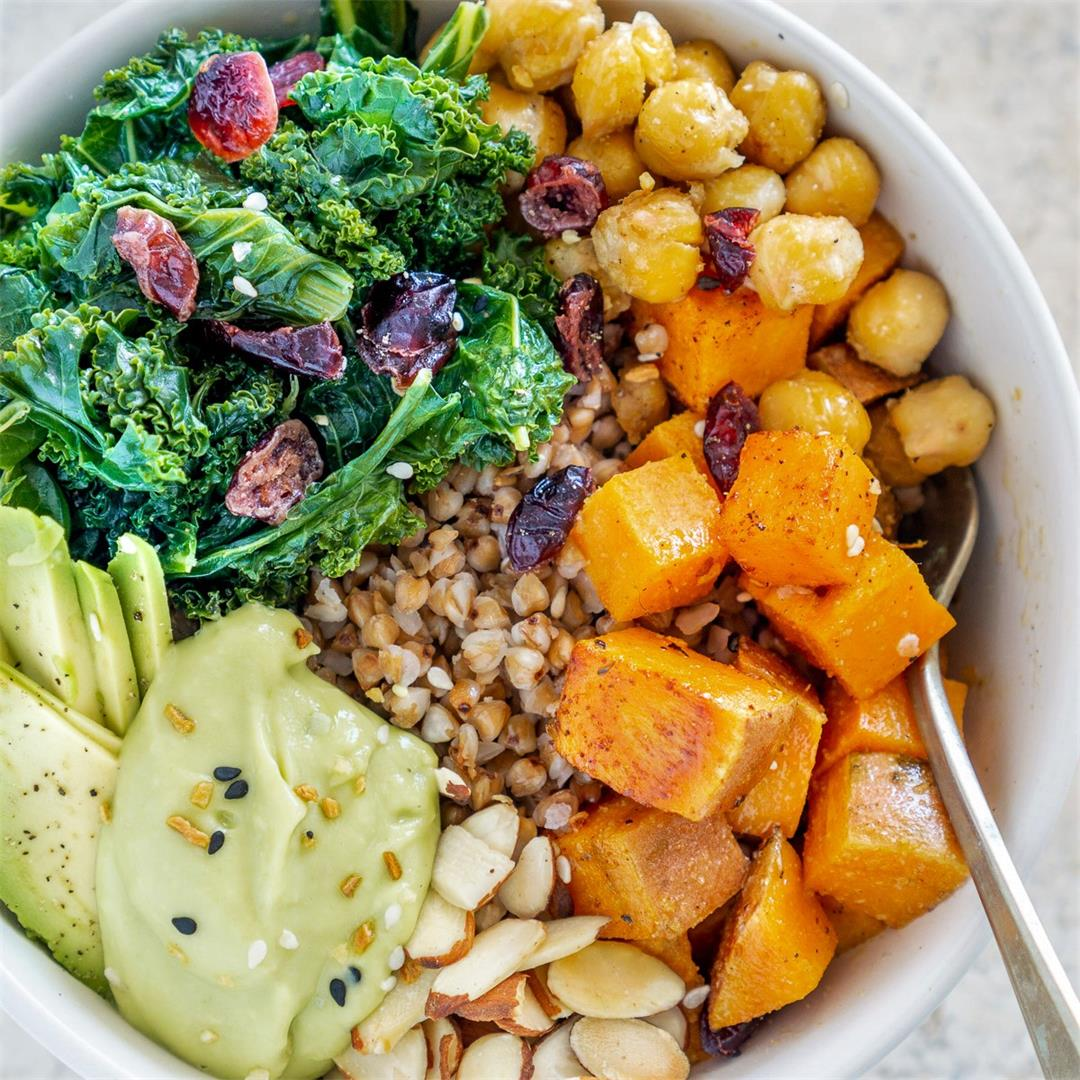 Buckwheat with Roasted Sweet Potato, Chickpeas, Kale & Avocado