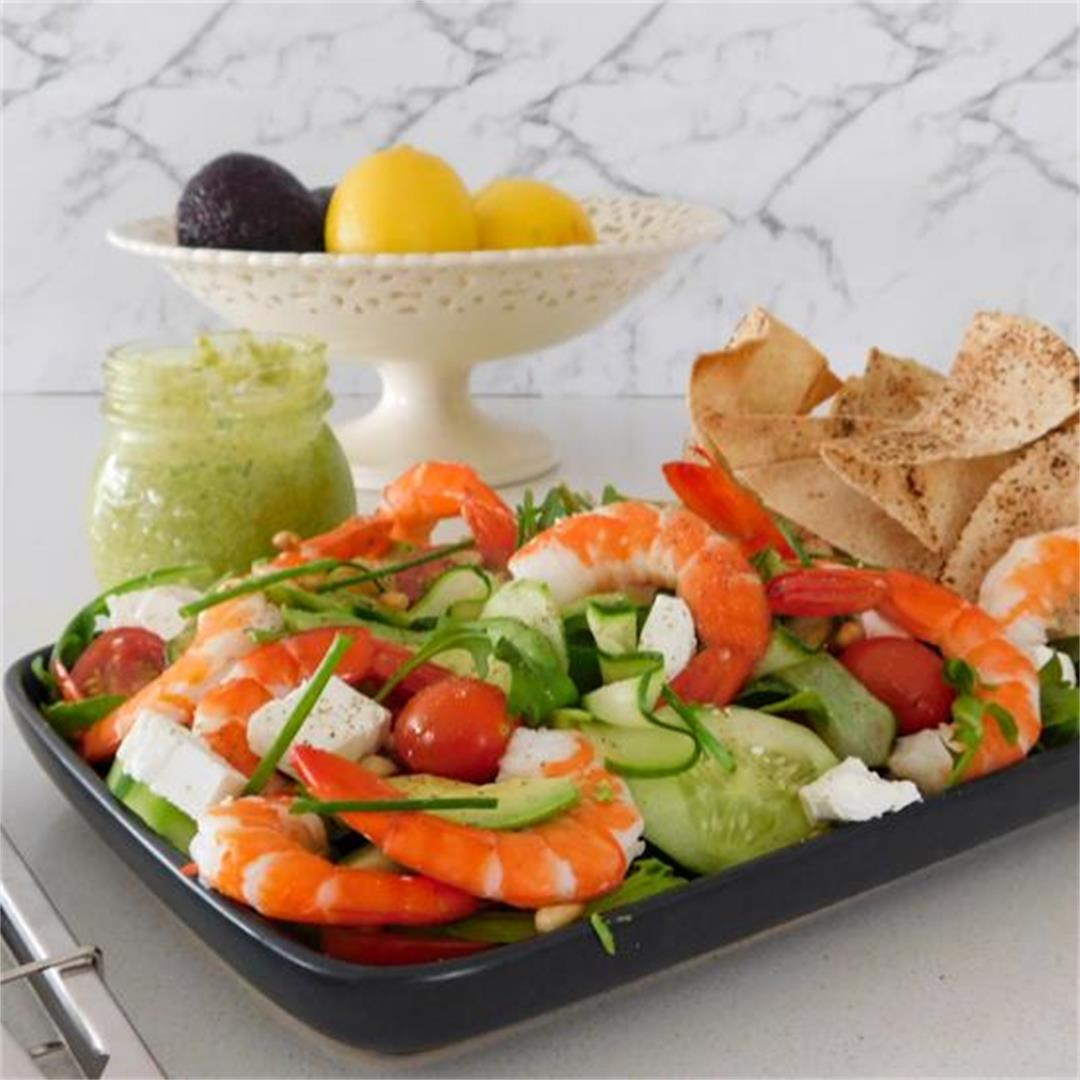 Prawn Salad with Pine Nuts and Crunchy Pita Bread