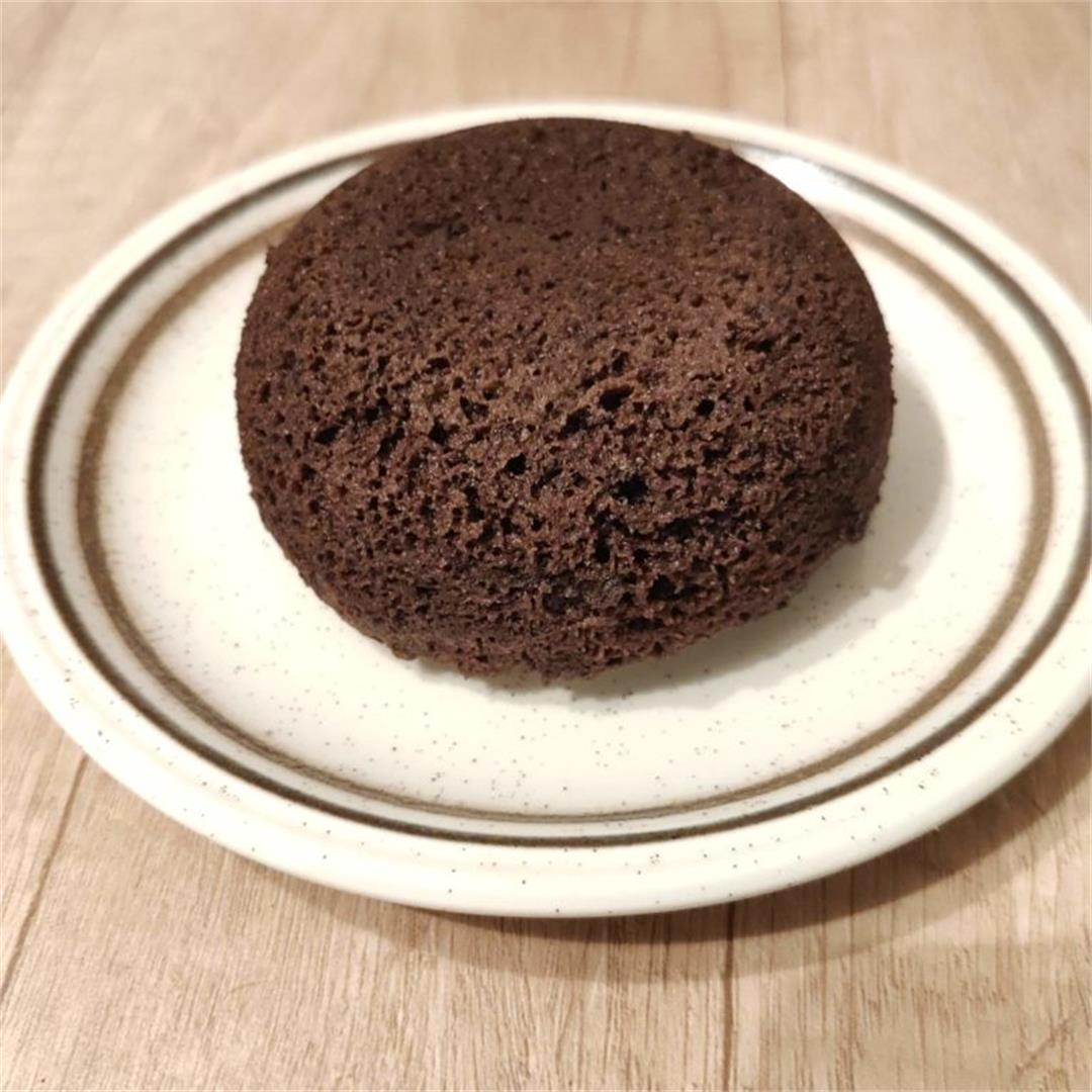 Flourless chocolate cake in a mug, keto and sugar free
