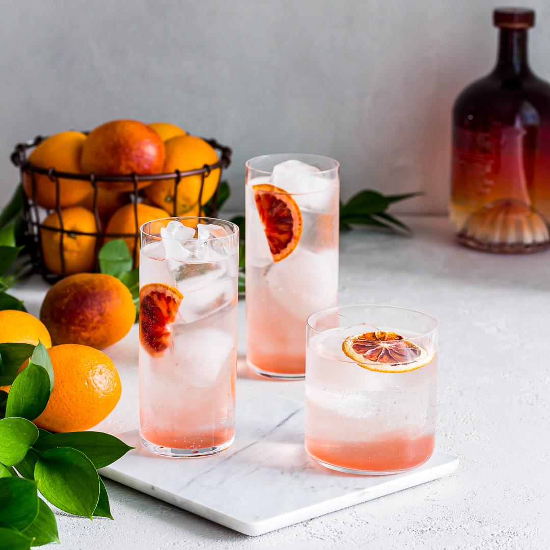 Blood Orange Vodka Soda Cocktail with Solerno
