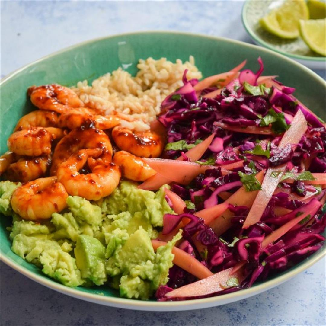 Spicy Prawn & Avocado Bowls with Red Cabbage Mango Slaw