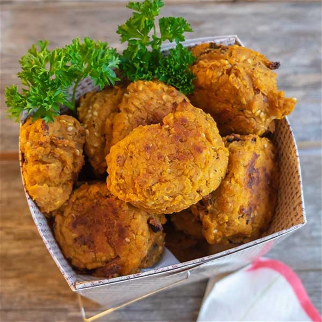 Gluten-Free Baked Yam Falafel