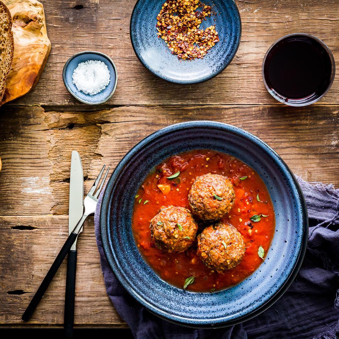 Jumbo Brisket Meatballs in fresh San Marzano Tomato Sauce