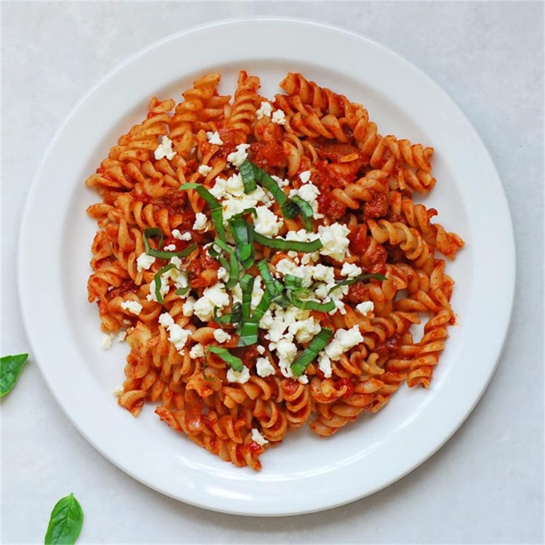 Meaty Fusilli with Basil and Feta
