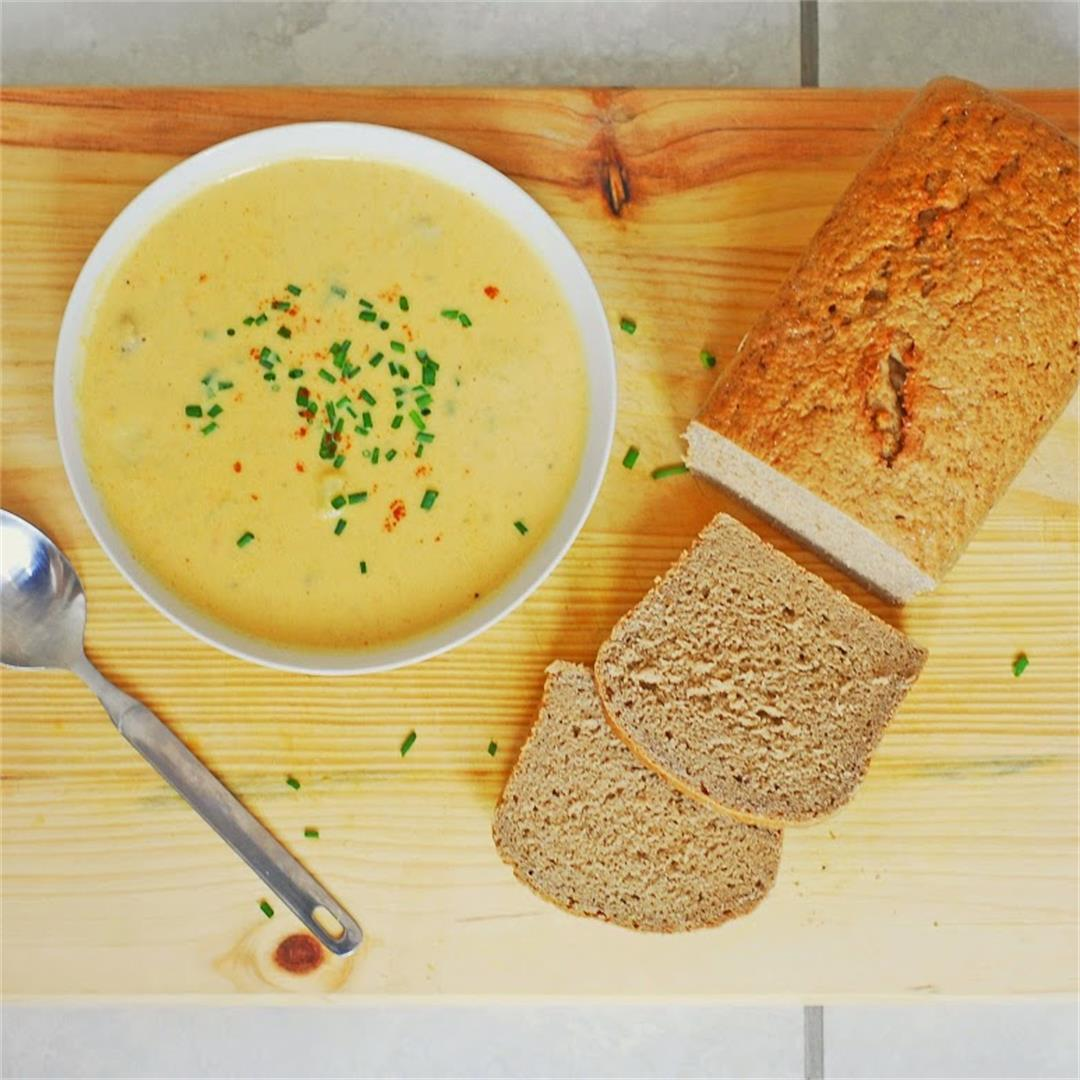 Healthified Beer and Sausage Cheddar Chowder