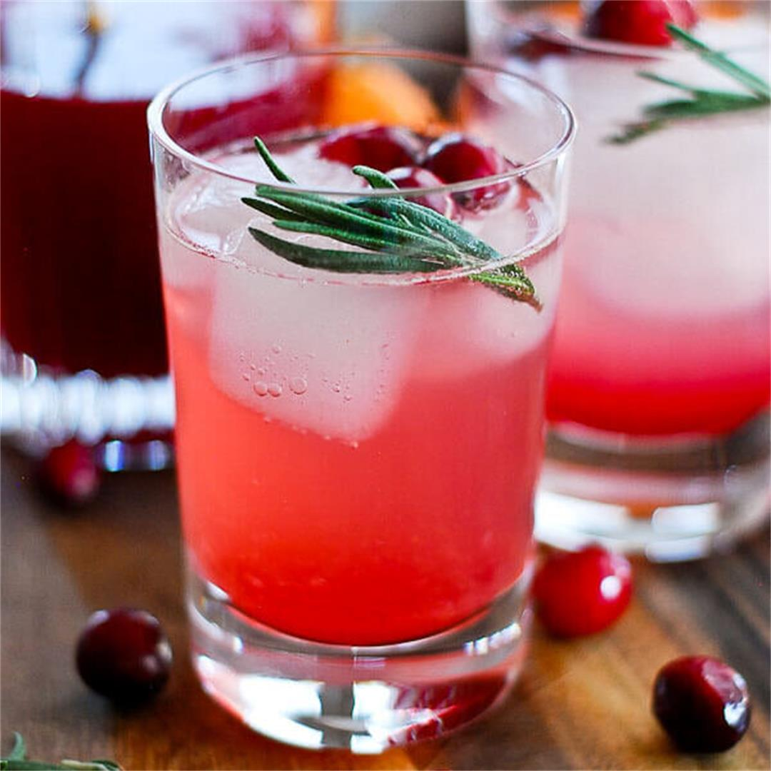 Cranberry Orange And Rosemary Shrub Mocktail