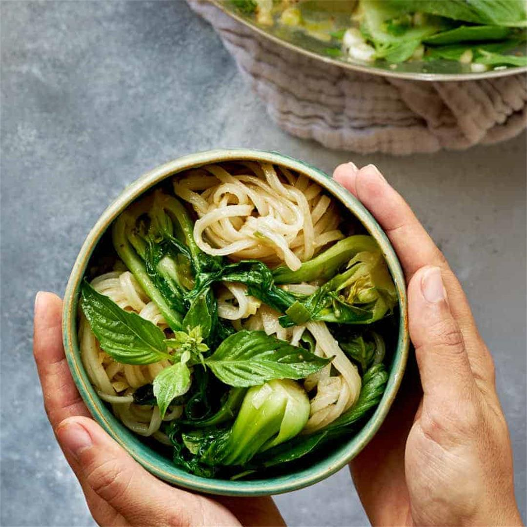 Bok Choy Noodle Stir Fry with Holy Basil