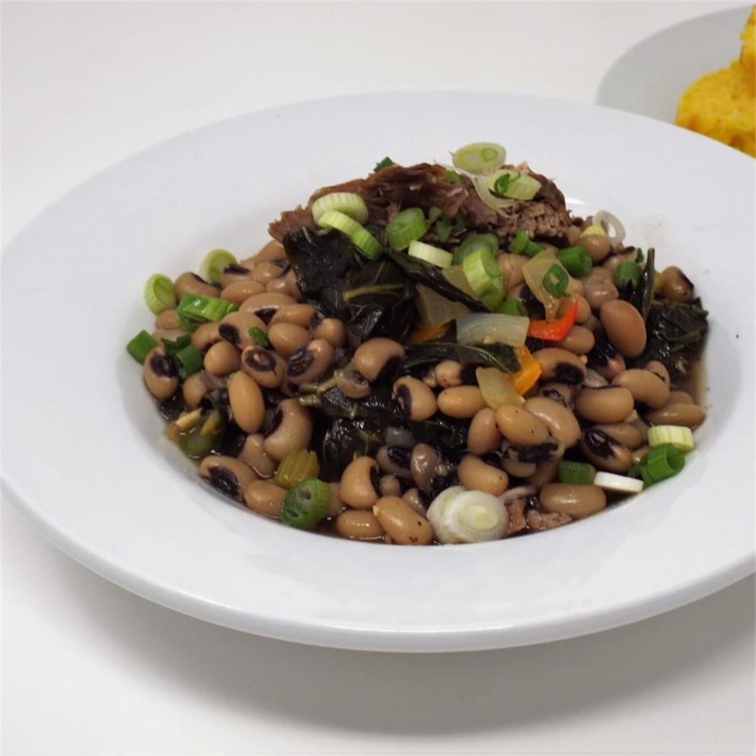 Braised Pork with Black Eyed Peas and Greens