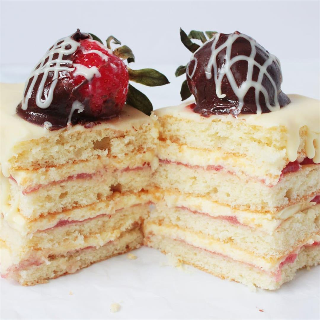 Strawberry Cake with Custard Cream