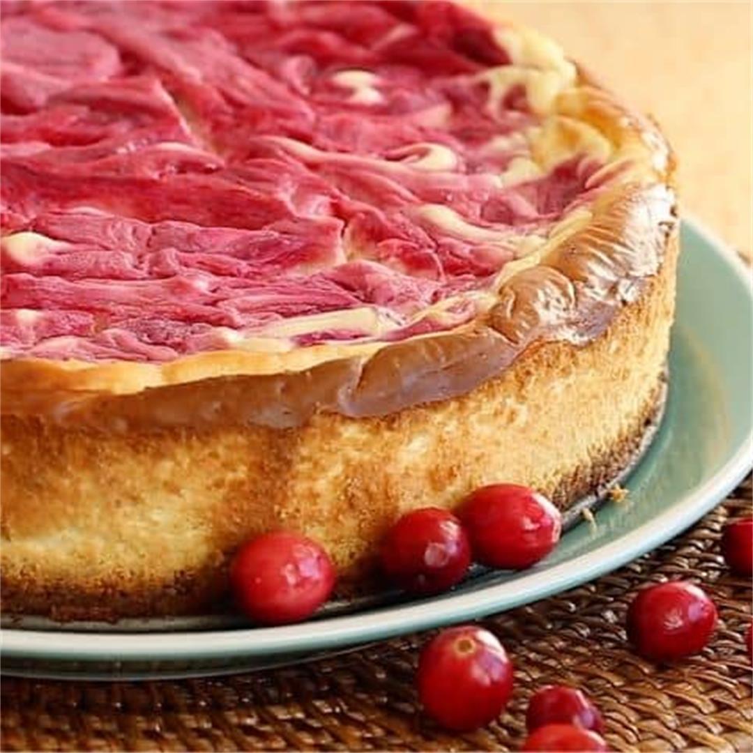 Cranberry Swirl Cheesecake (Gluten-Free, Keto)