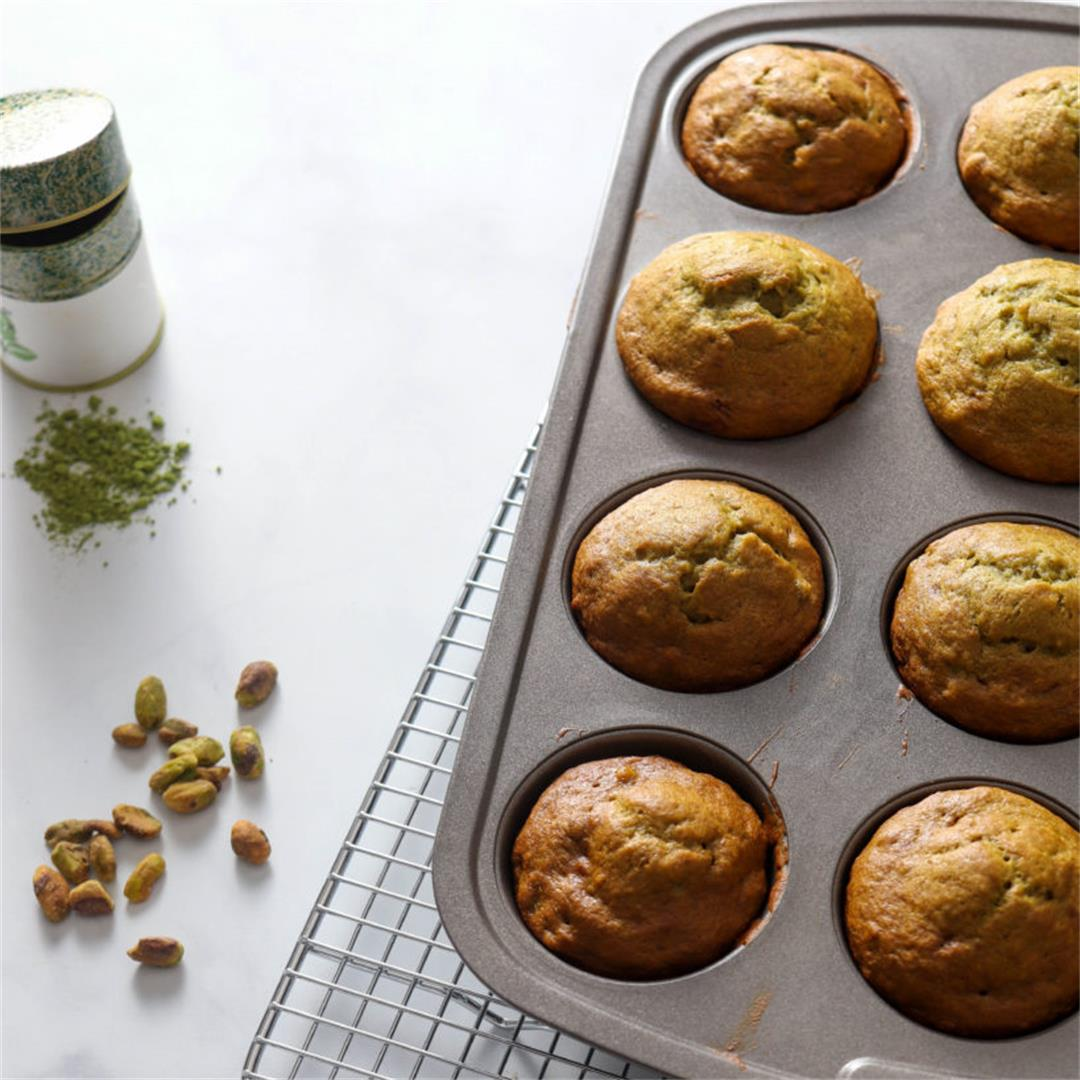 Healthy Pistachio Muffins (with Bananas & Matcha!)