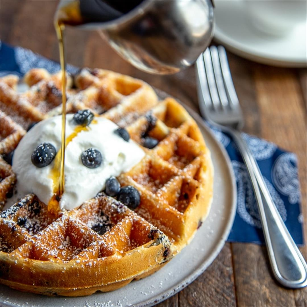 Easy Blueberry Waffles from Scratch