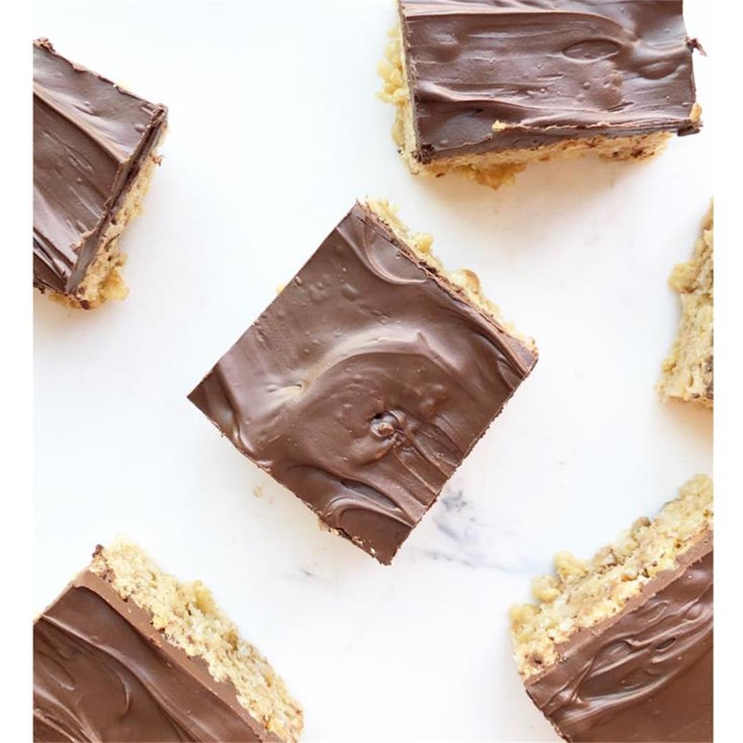 Chocolate Peanut Butter Heath Krispy Bars