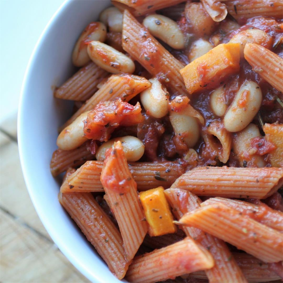 High Protein Vegan Squash & Bean Pasta Recipe