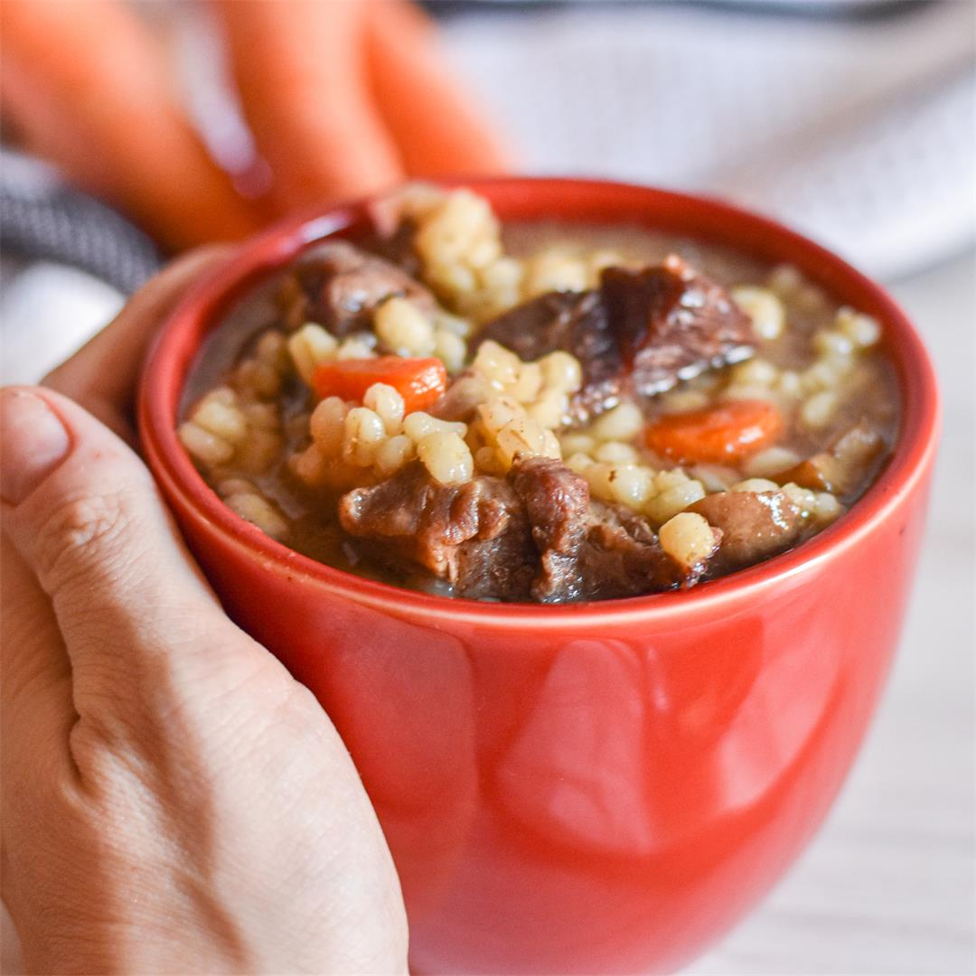 Instant Pot Beef, Barley and Mushroom Soup