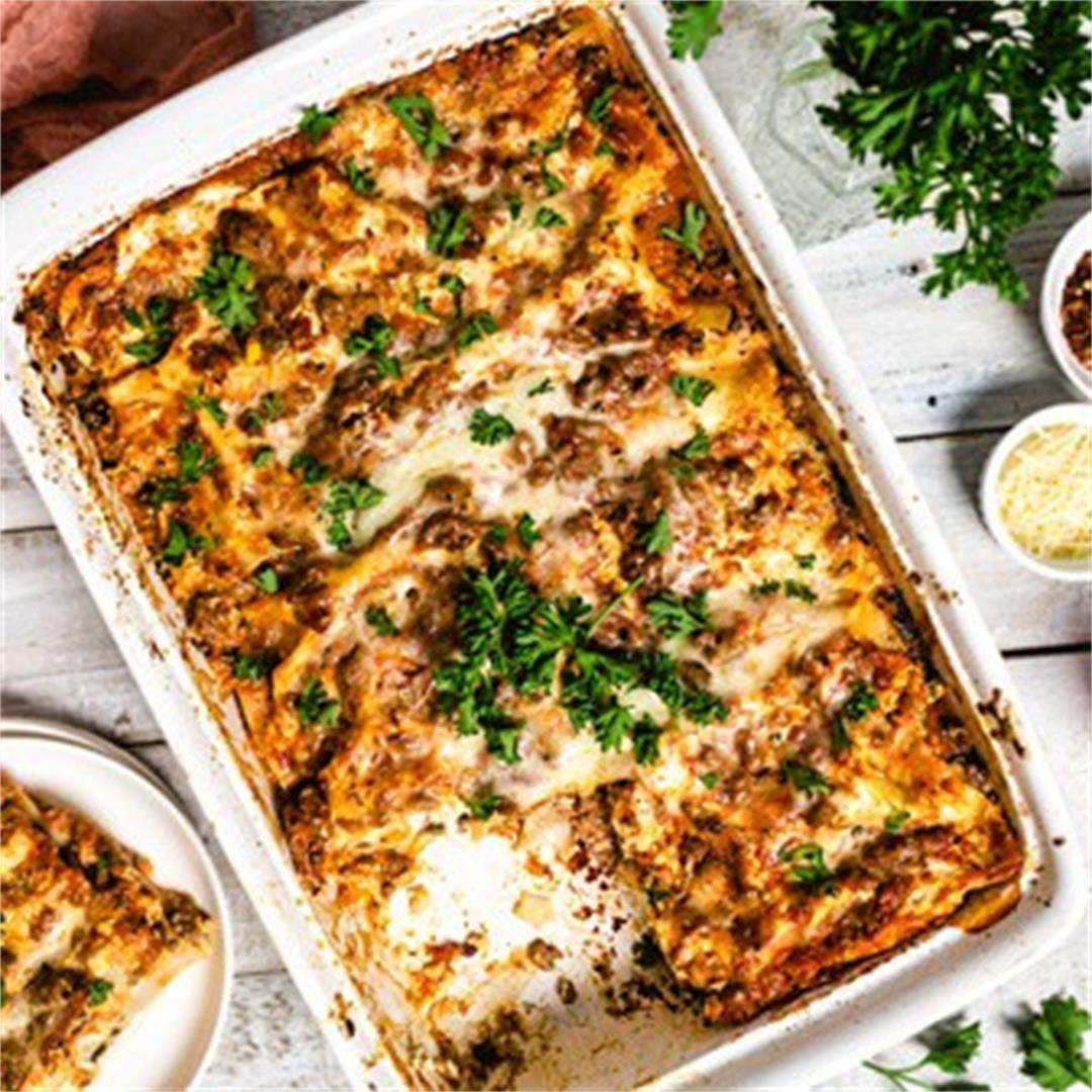 Classic Sicilian Lasagna [with oven-ready lasagna noodles]