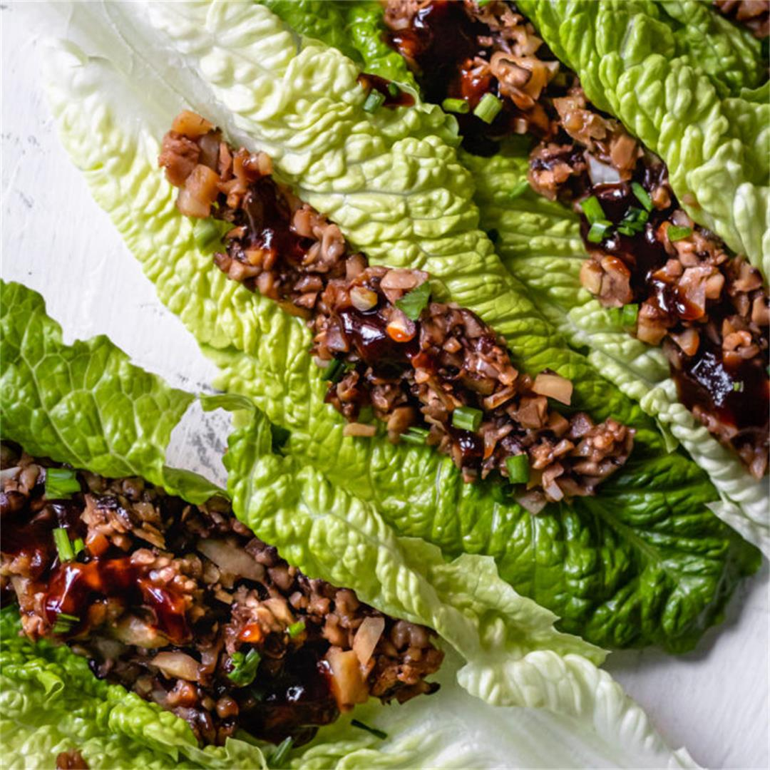Shiitake Mushroom Lettuce Wraps - Cooking Therapy