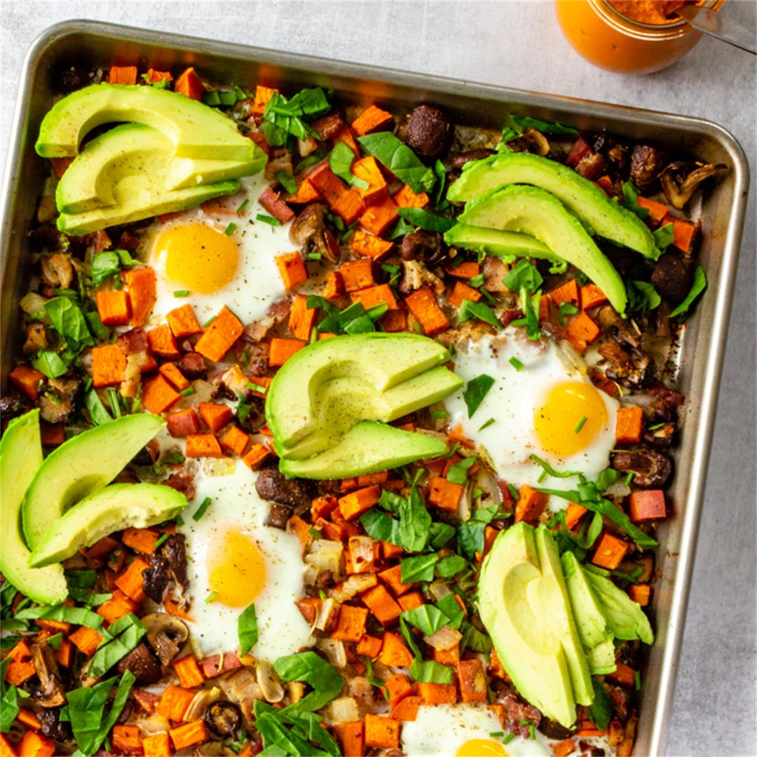 Sheet Pan Sweet Potato Hash with Baked Eggs & Romesco