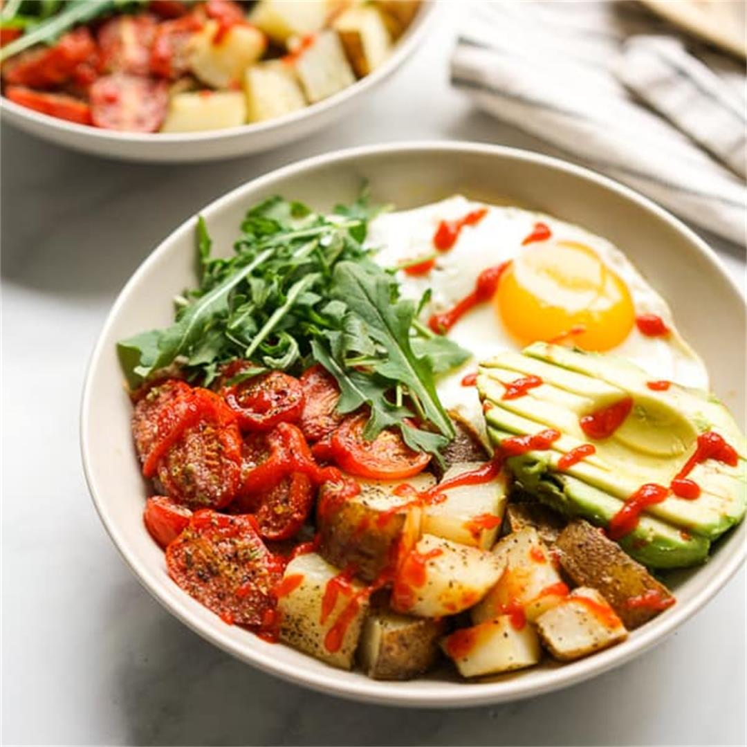 Savory Breakfast Bowl with Egg, Potatoes and Avocados