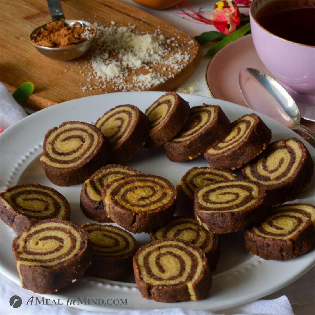 Almond Flour-Carob Pinwheel Cookies