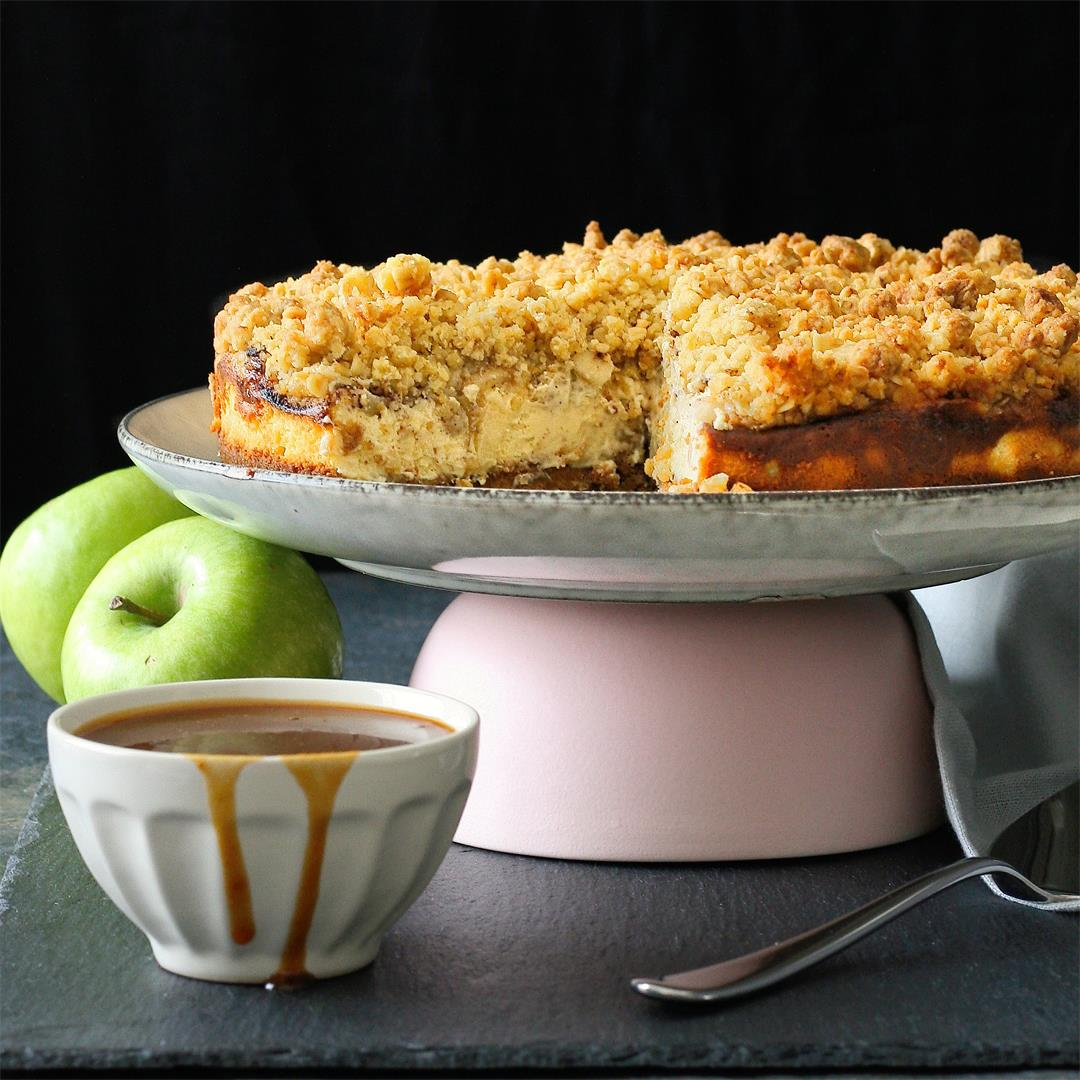 Spiced apple crumble cheesecake with salted caramel sauce