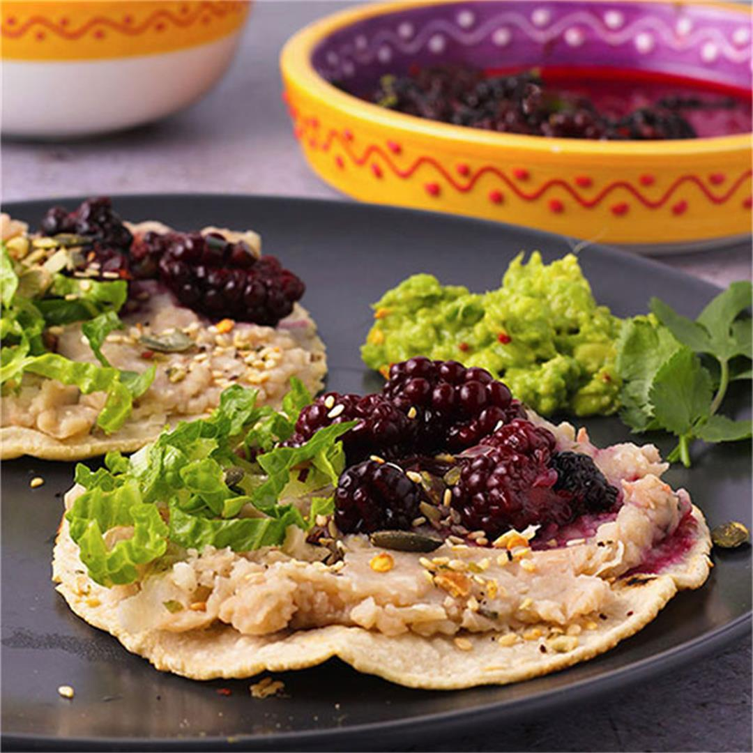 Decadently healthy white bean tostadas & blackberry salsa