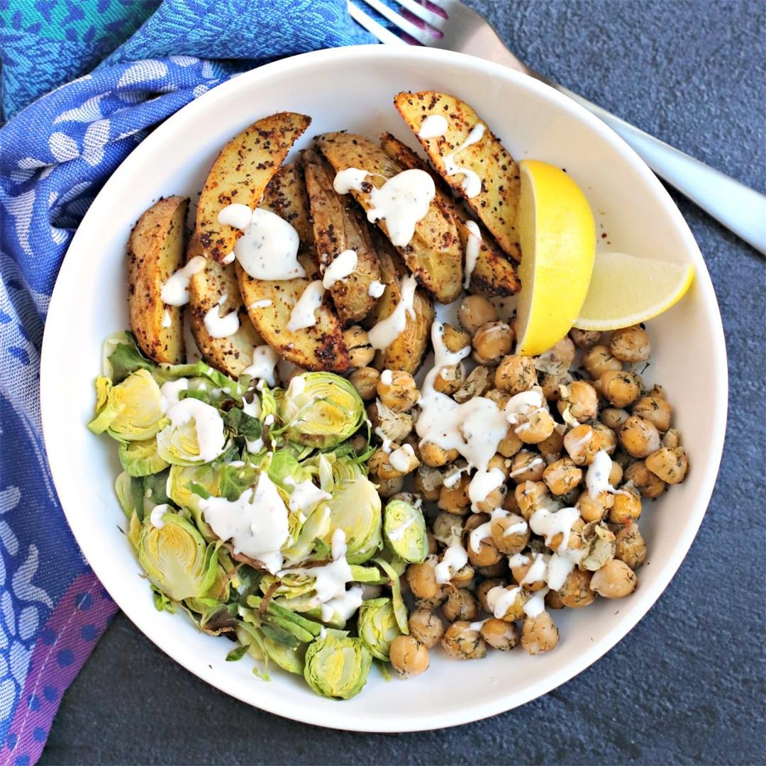Dill Roasted Garbanzo Beans with Potatoes