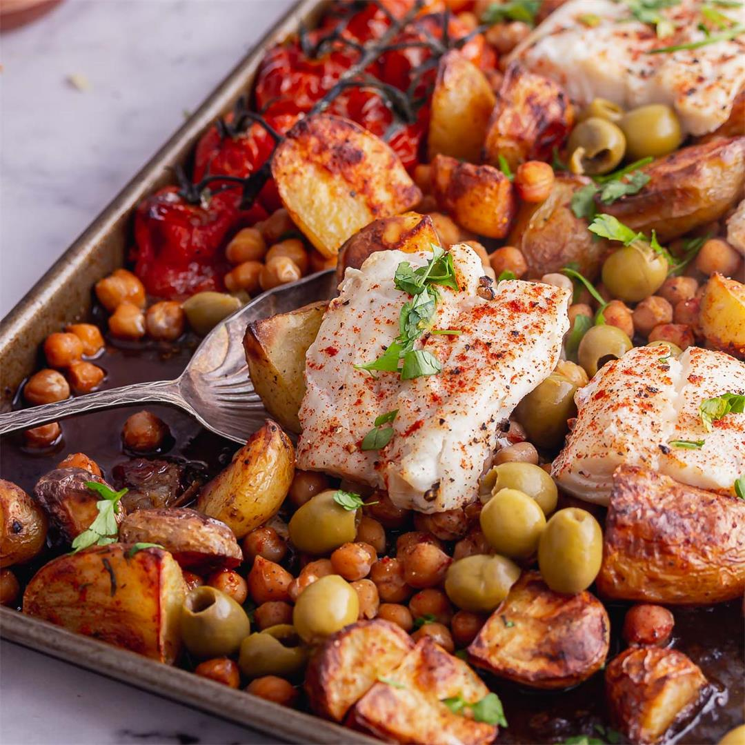 Baked Cod with Potatoes & Chickpeas