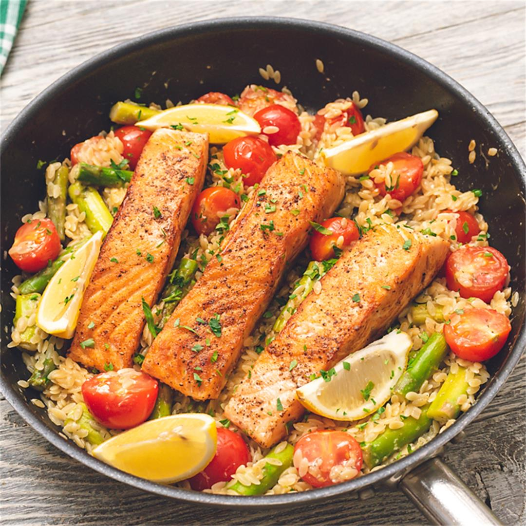 Lemon Salmon Orzo Skillet is an easy one pot recipe, perfect fo