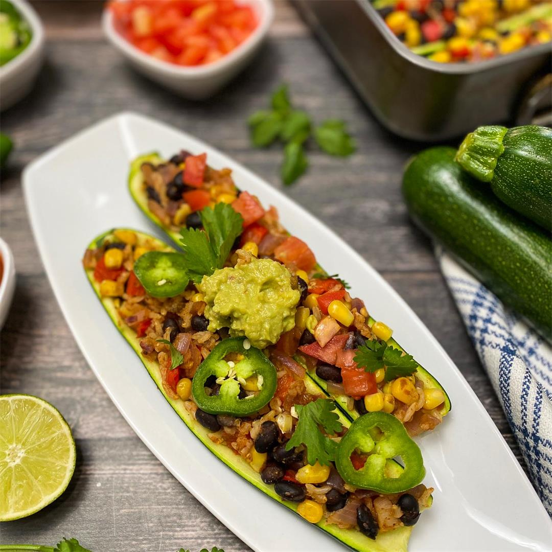 Low Calorie Mexican Zucchini Boats