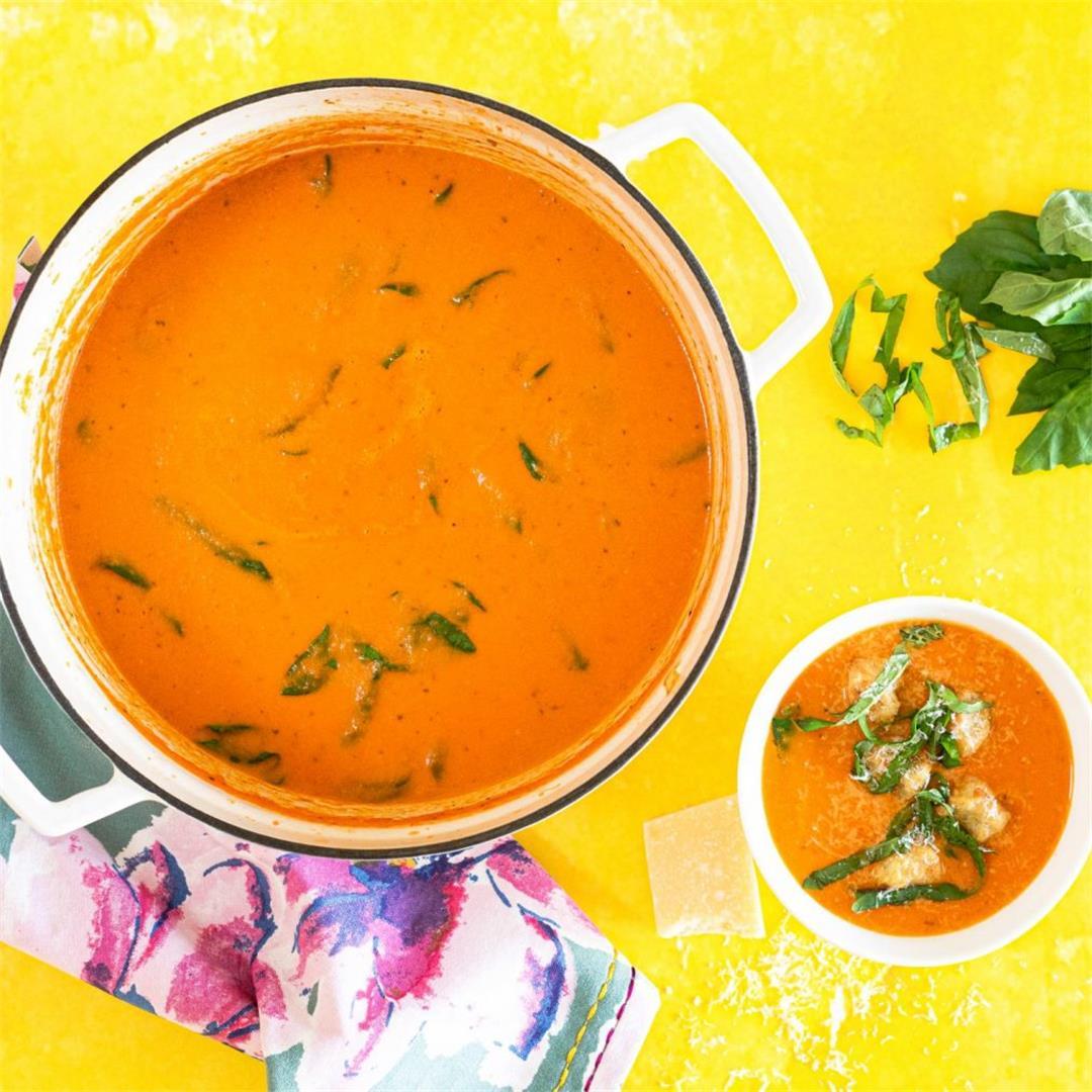 Tomato Soup with Cauliflower Gnocchi Dumplings