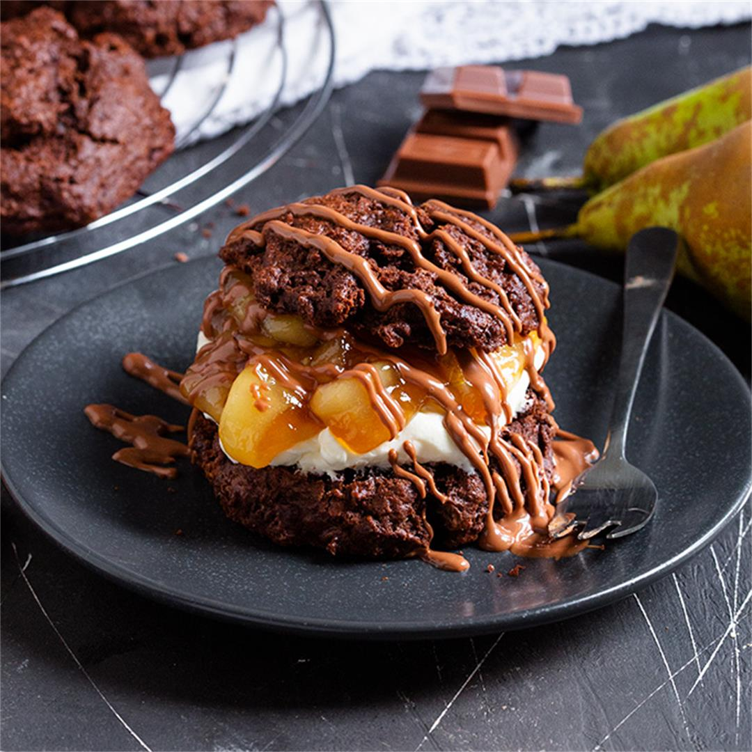 Chocolate and Pear Shortcakes