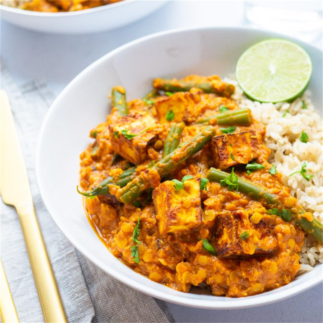 Paneer Curry with Lentils   and Green Beans
