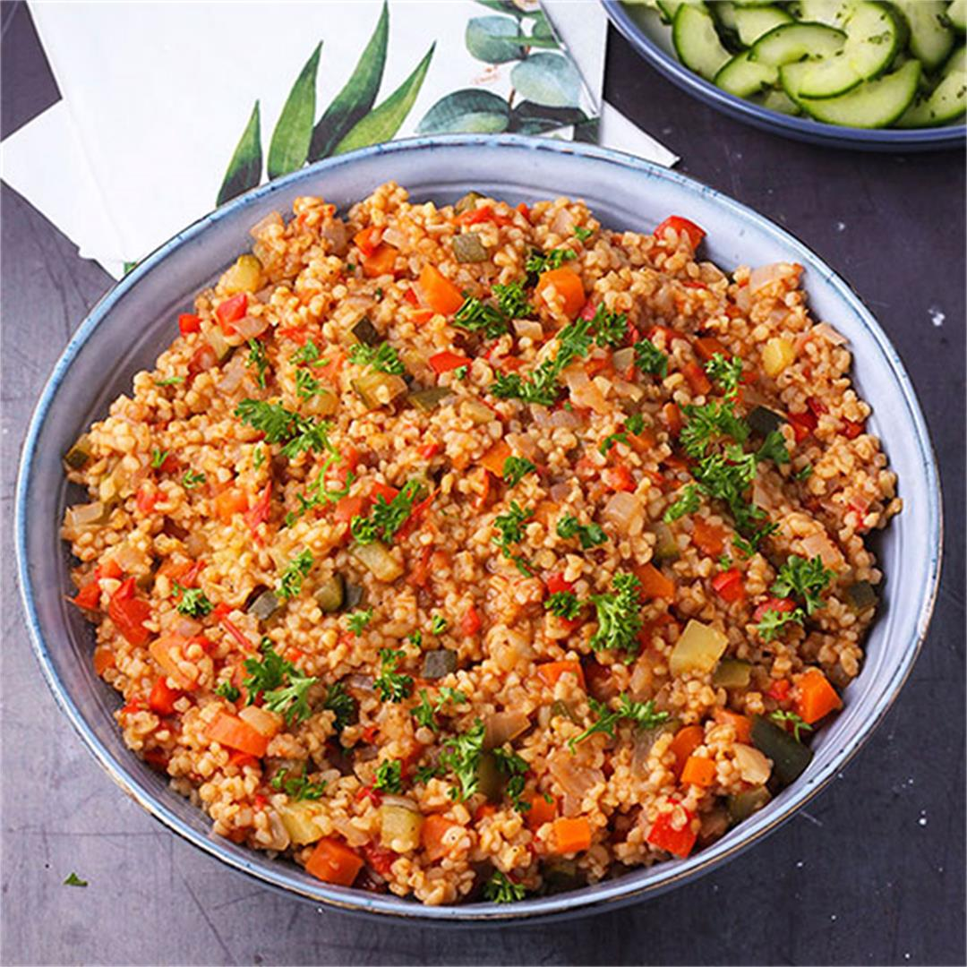 Middle Eastern bulgur with vegetables