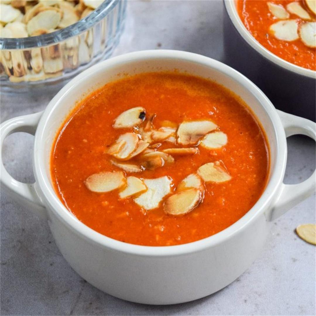 Vegan Romesco Roasted Red Pepper Soup