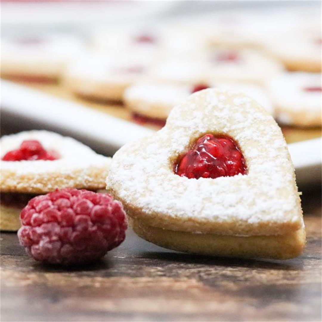Heart Shaped Linzer Cookies w/ Homemade Raspberry Jam