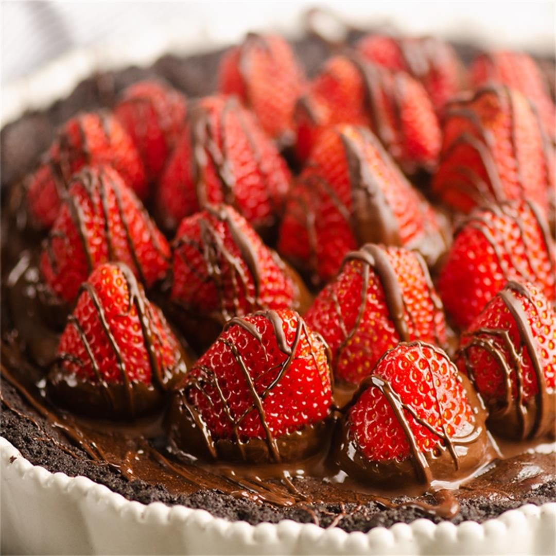 Chocolate Covered Strawberry Ganache Tart