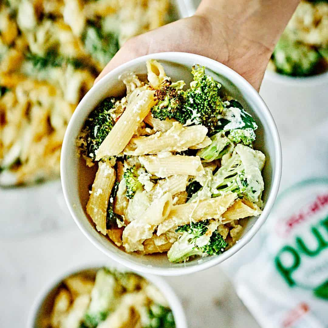 Spicy Tahini Baked Penne with Broccoli & Spinach