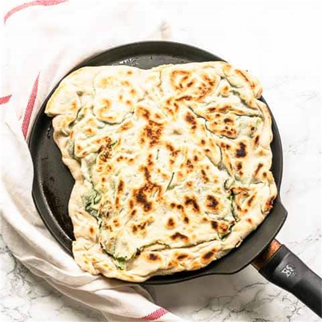 Gozleme with spinach and feta
