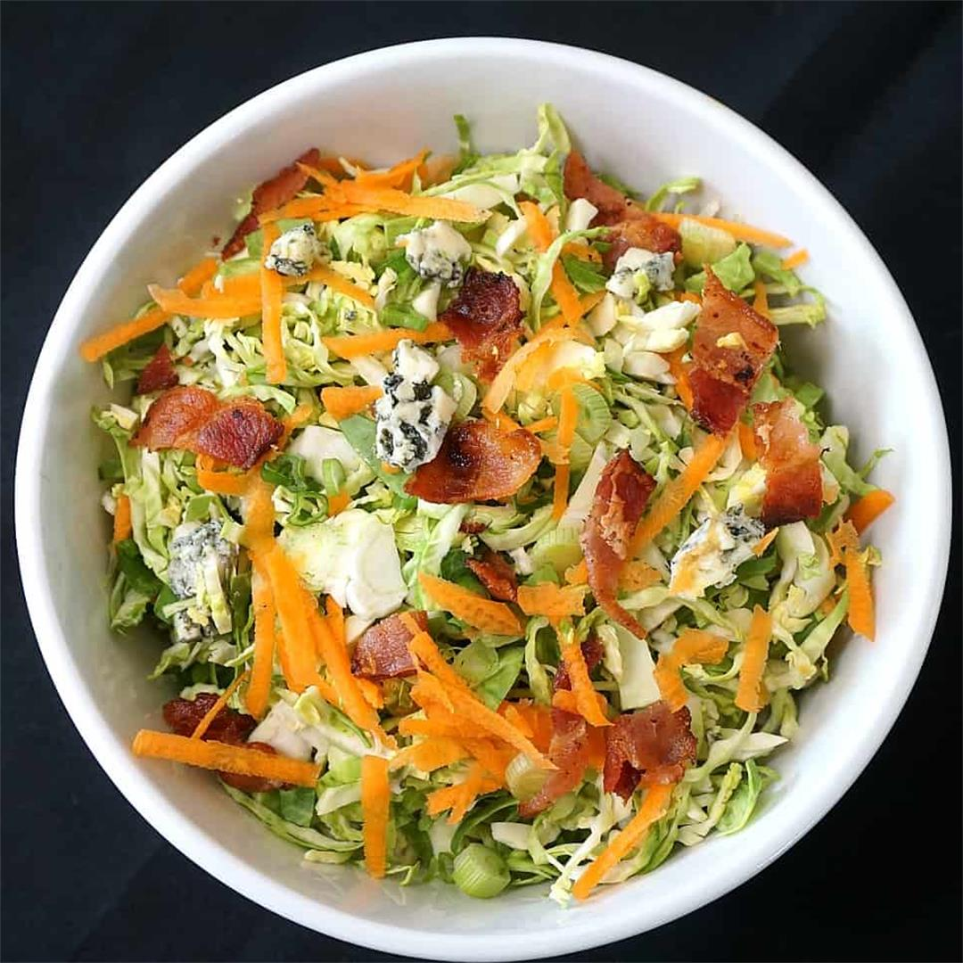Brussel Sprout Slaw with Bacon and Blue Cheese