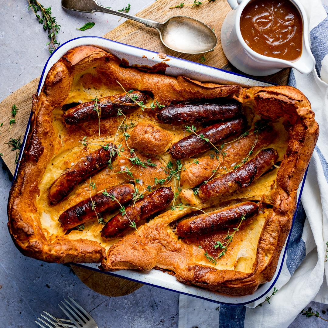 Toad in the Hole with Red Onion Gravy