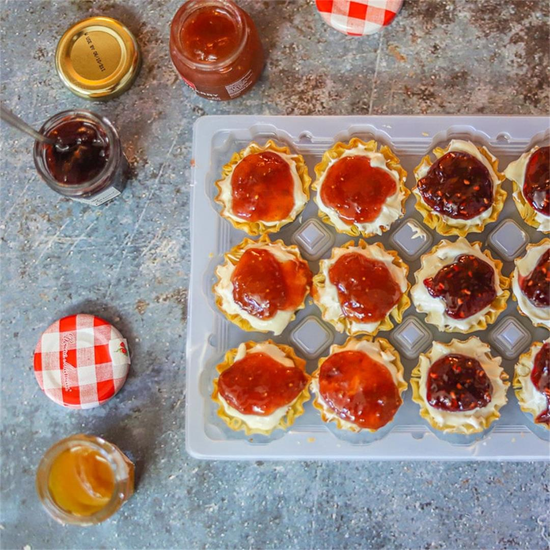 Cheesecake Phyllo Cups (topped with jam)