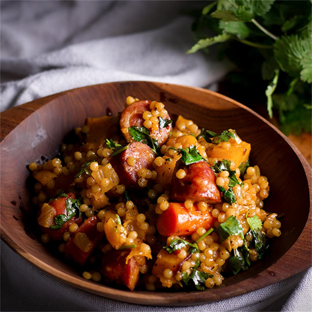 Couscous Veggie Bowls with Butternut Squash and Andouille Sausa