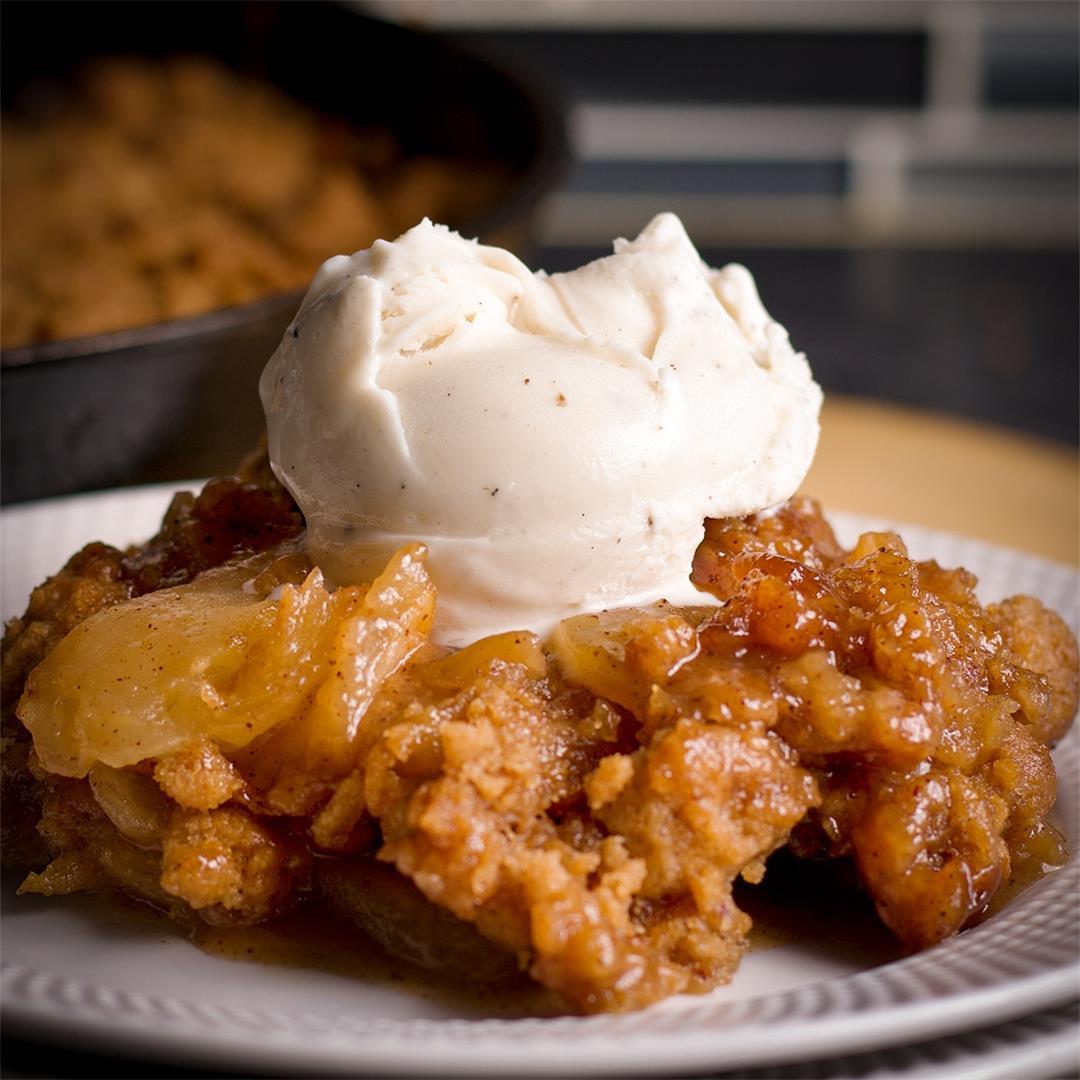 Apple Cobbler with Gooey Brown Sugar Cookie Crumble