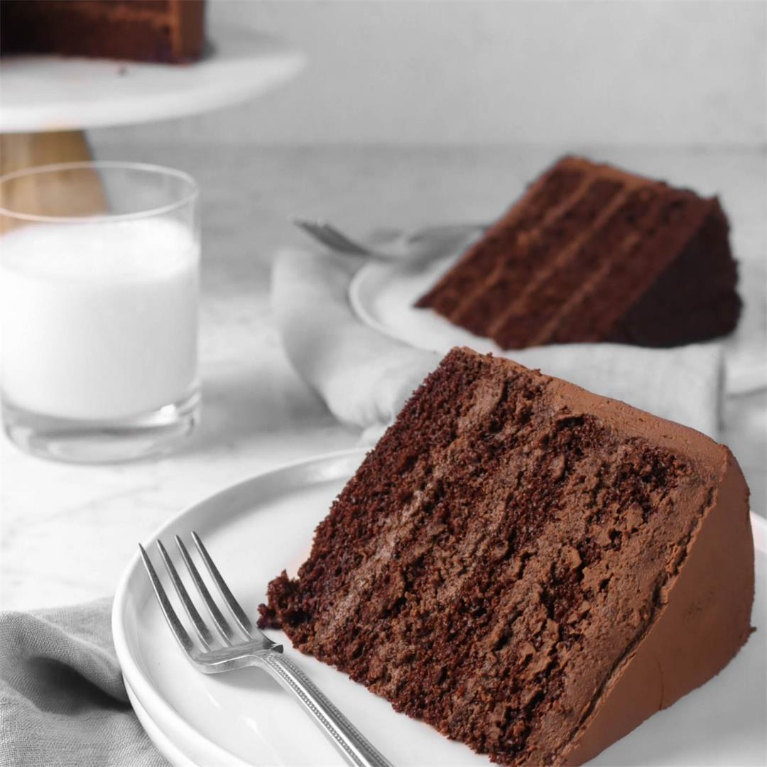 The Ultimate Dark Chocolate Cake with Whipped Ganache