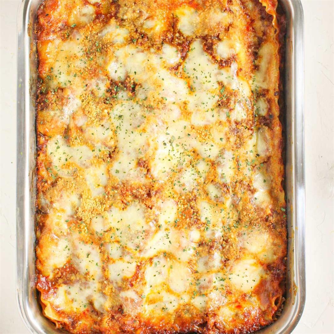 Ground Beef Lasagna • A Scrumptious Bite