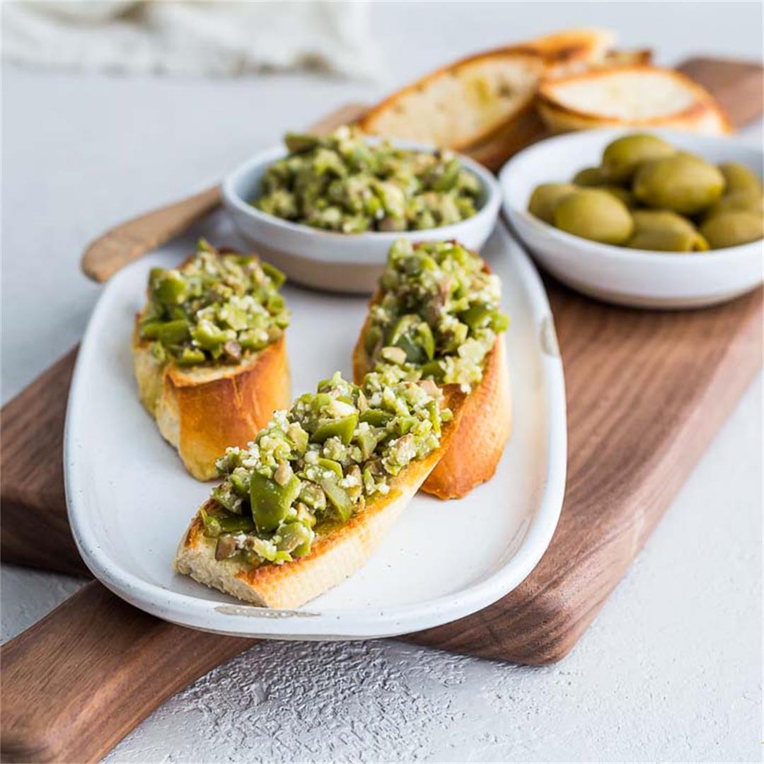 Crushed Greek Green Olive Crostini