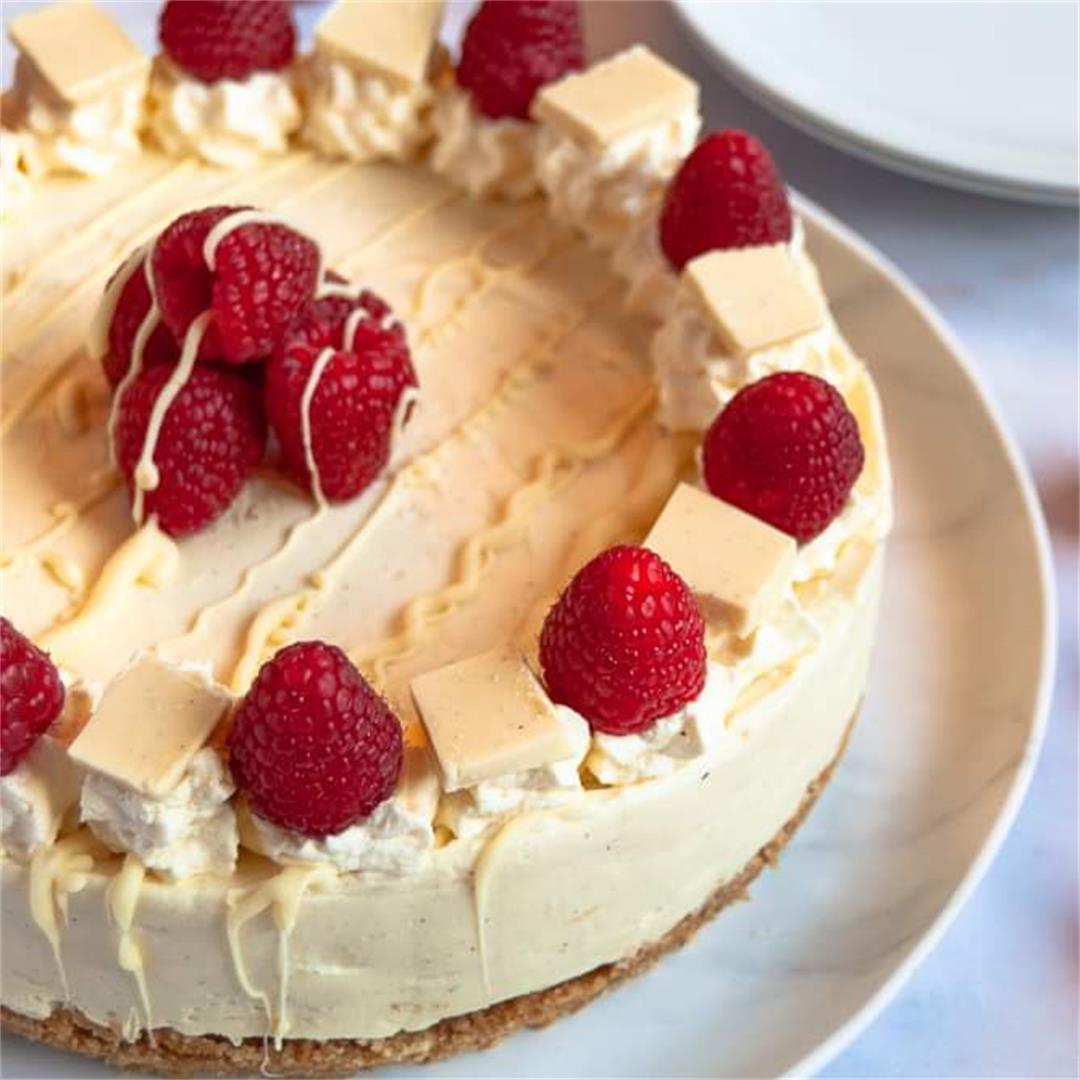 No Bake White Chocolate And Raspberry Cheesecake Something Sweet Something Savoury